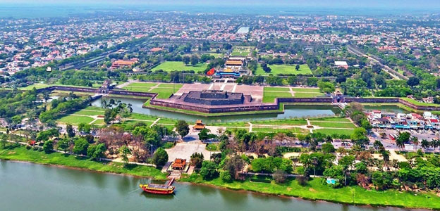 A bird eye view of the Imperial City in Hue